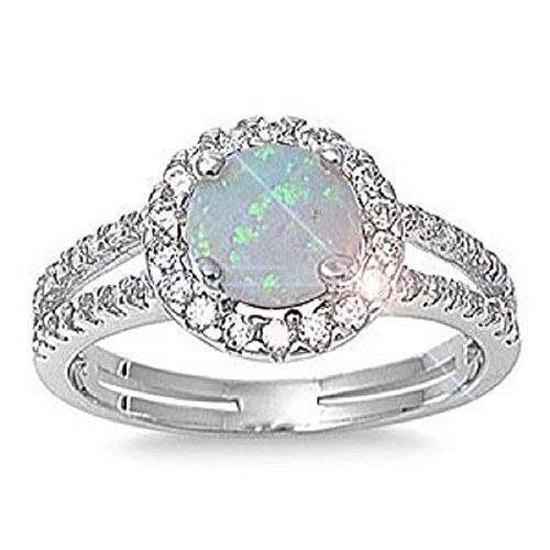 THE ICE EMPIRE JEWELRY, LLC 6mm Sterling Silver Round White Lab Opal Ring W Clear Cz Accents
