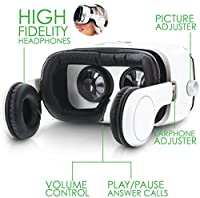 Okra Rhythm SoundBox VR Virtual Reality Glasses Headset - 3D 360 Panoramic with Built-in Stereo Headphones (Hi-Fi Sound) for iPhone or Android by Okra