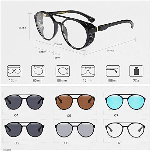Espejo Sunglasses Sol Plata Color Protección Cool Lentes Vintage Holiday de Hombre Mujer Marrón Driving Fishing para Beach Gafas UV clásico de Steampunk Señora Summer tvFv5w