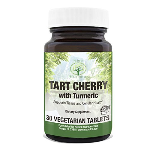 Cherry 30 Tabs - Natural Nutra Tart Cherry Extract Supplement with Turmeric Curcumin, 875 mg, 30 Vegetarian Tablets