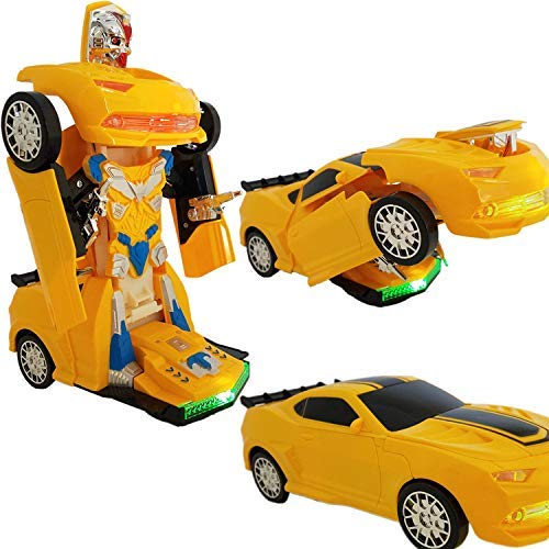 ANJ Kids Toys - Battery Operated Bump and Go Transforming Toys for Kids -Auto Transforming Auto Robots Action Figure and Toy Vehicles - Realistic Engine Sounds & Beautiful Flash Lights (Yellow) (Transforming Flash Light)