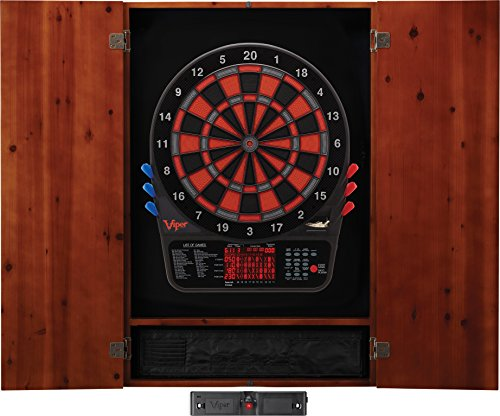 Viper Metropolitan Solid Wood Cabinet & Electronic Dartboard Ready-to-Play Bundle: Elite Set (800 Dartboard, Darts and Laser Throw Line), Cinnamon Finish ()