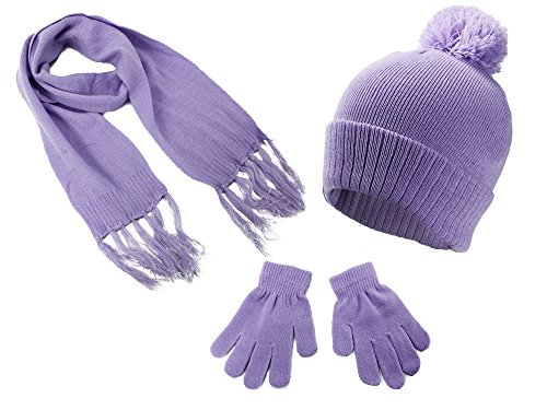 (S.W.A.K Kids Girls Knit Pompom Beanie Hat Scarf and Gloves Set One Size Fits Most Lavender)
