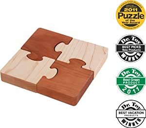 Natural Eco-Friendly Wooden First Jigsaw Puzzle - Square - Made in USA