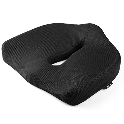 INTEY Seat Cushion, Memory Foam Chair Cushions, Ergonomic Design for Relieving Back Pain, Sciatica, Pregnancy, Washable Cover(Black)