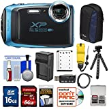 Cheap Fujifilm FinePix XP130 Shock & Waterproof Wi-Fi Digital Camera (Sky Blue) with 64GB Card + Battery +Charger + Cases + Tripod + Float Strap + Kit