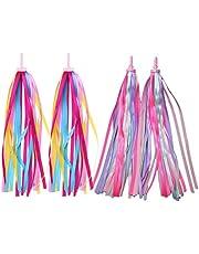 LIOOBO 2 Pairs Kids Colourful Bicycle Streamers Bike Handlebar Streamers Tassel Ribbons for Boys Girls