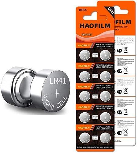 HAOFILM LR41 AG3 392 384 192 Premium Alkaline Battery,1.5V Round Button Coin Cell Batteries (10 Pack)