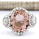 Chic Women Jewelry 925 Silver Morganite Gemstone Wedding Bridal Ring Size 6-10 (ุุ6)