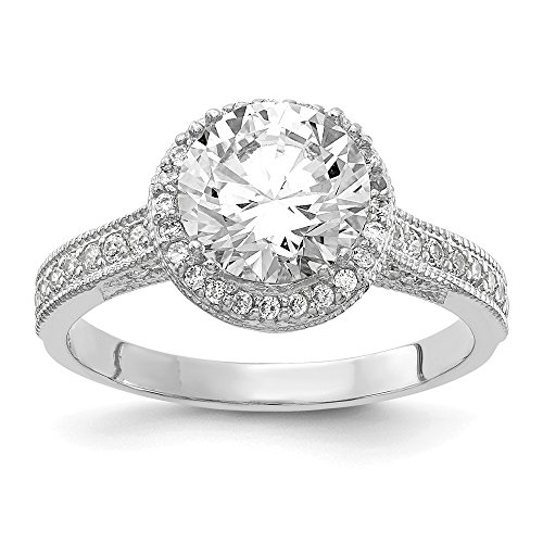 Mia Diamonds 10K Tiara Collection White Gold Polished CZ Ring