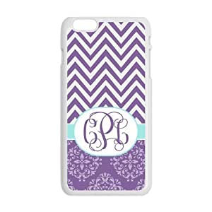 Purple Chevron Zigzag & Vintage European Pattern Damask Print Style Monogram Personalized Custom Best Plastic Hard Case for ipod touch 4 (Only for 5.5 inches) ,Black or White for Choice