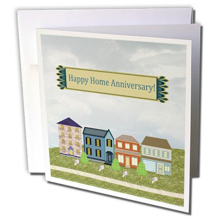 3dRose Beverly Turner Home Anniversary Design - Home Anniversary, Realtor to Client, Family, Friends, Homes, Mailboxes - 12 Greeting Cards with envelopes (gc_240770_2) Additional Mailboxes