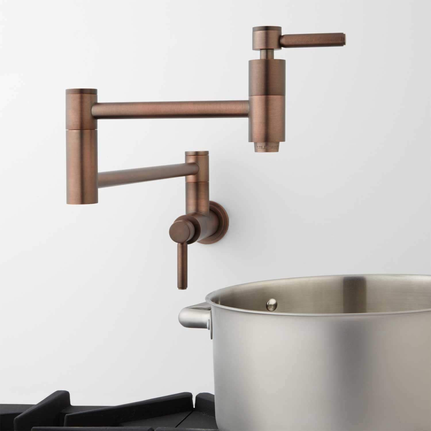 Signature Hardware 329628 Contemporary Double Handle Wall Mounted Pot Filler