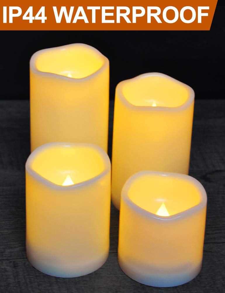 HOME MOST Set of 4 Waterproof LED Pillar Candles with Timer (CREAM, 3''/4''/5''/6'' Tall, Wavy Edge) - Outdoor Battery Candles Faux Candles Flickering Flameless Candles - LED Fake Candles Bulk Home Decor