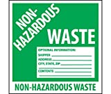 National Marker Corp. HW5SL5 Self-Laminating Labels, Non-Hazardous Waste, 6 Inch X 6 Inch, PS Vinyl, 5/Pk