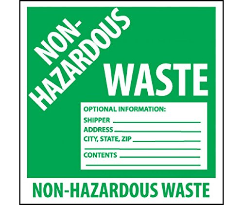 National Marker Corp. HW5SL5 Self-Laminating Labels, Non-Hazardous Waste, 6 Inch X 6 Inch, PS Vinyl, 5/Pk