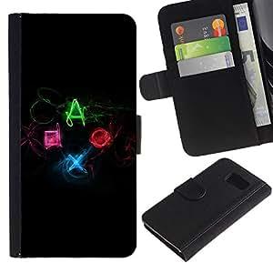 YiPhone /// Tirón de la caja Cartera de cuero con ranuras para tarjetas - Botones controlador de juego DUALSHOCK - Samsung Galaxy S6