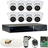 GW Security 1.3 MegaPixel 1000TVL Color Night Vision Security Camera System with 8 Channel DVR and 8 x 1000TVL Starlight 2.8-12mm Varifocal Zoom Outdoor / Indoor Analog Dome Cameras + 2TB Hard Drive Included