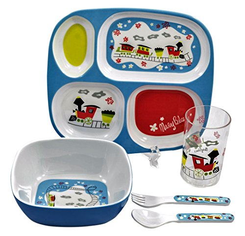 5 Piece Childrens Melamine Gift Set Trains