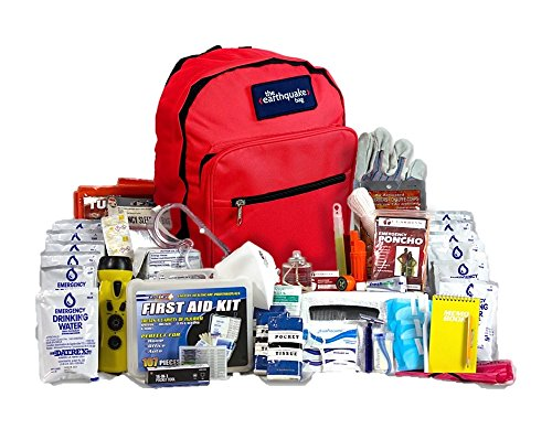 Complete Earthquake Bag for 2 people for 3 days – Most popular emergency kit for earthquakes, hurricanes, floods + other disasters (Emergency food, water, shelter, hand-crank phone charger)