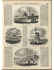 Truro Cape Cod Massachusetts Windmill and Lighthouse 1856 antique engraved print