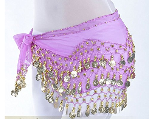[JiaHui Gold Coins Belly Dance Hip Scarf Wrap Belt costume Skirt Purple (Great Gift Idea)] (Purple Belly Dance Costume)