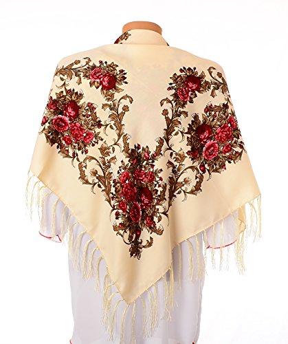 [Shawl Fashion Ukrainian Fringed Wrap Polish Scarf Russian Babushka for Women Traditional Folk Hustka Ethnic Platok for Ladies Evening Dress Wedding Accessory. 39] (Traditional Russian Outfits)