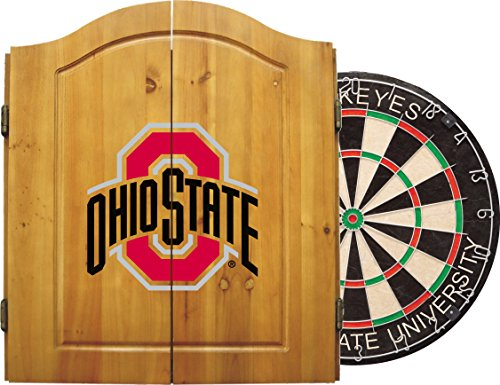Imperial Officially Licensed NCAA Merchandise: Dart Cabinet Set with Steel Tip Bristle Dartboard, Ohio State Buckeyes ()