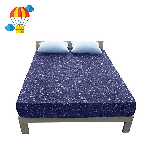 BuLuTu Deep Pocket Fitted Sheet Twin Cotton Purple-Premium Soft,Breathable,Durable,Comfortable,Starry Sky Print Single Bed Fitted Sheet Only 1 Piece,NO Pillowcases