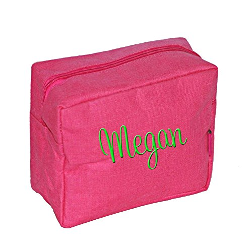 Hot Pink Jute Cosmetic Makeup Bag