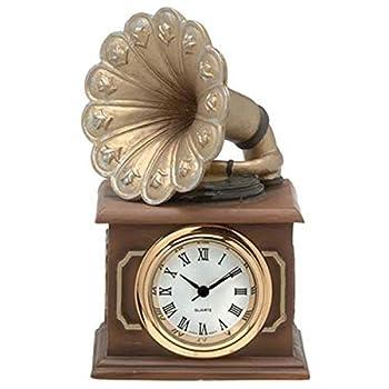 "WL SS-WL-5180 Old Time Bronze Colored Gramophone Mini Quartz Clock, 2.75"""