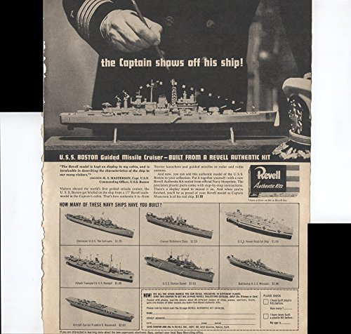 - Revell Authentic Kits The Captain Shows Off His Ship USS Boston Guided Missile Cruiser K.S. Masterson Capt USN Commanding Officer 1957 Vintage Antique Advertisement