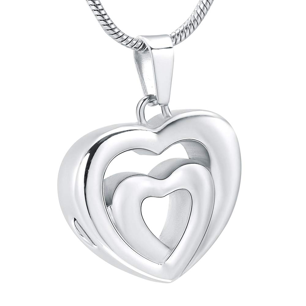 Davitu IJD12431 Unique Double Heart Stainless Steel Cremation Pendant Keepsake Necklace Ashes Holder Urn for Men//Women Memorial Jewelry Metal Color: Silver, Main Stone Color: 3pcs Necklace