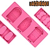 Jacobake 3-Cavity Cute Silicone Ice Pop Molds - Non Stick & BPA Free