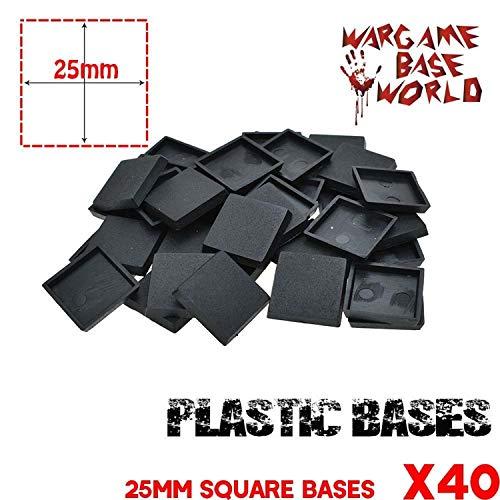(BIG-DEAL 40Pcs 25mm Bases Wargames Plastic Square bases-40Pcs )