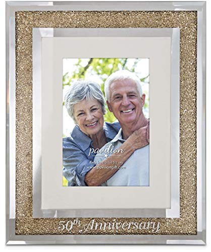 Pavilion Gift Company 85115 Glorious Occasions-50th Anniversary Gold Crystal Mirrored 4x6 Picture Frame