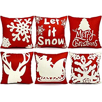 UMIKU 6PCS Christmas Pillow Covers 18x18 Christmas Decorations Pillows Covers Christmas Decorative Throw Pillows Cases Sofa Indoor Home Décor