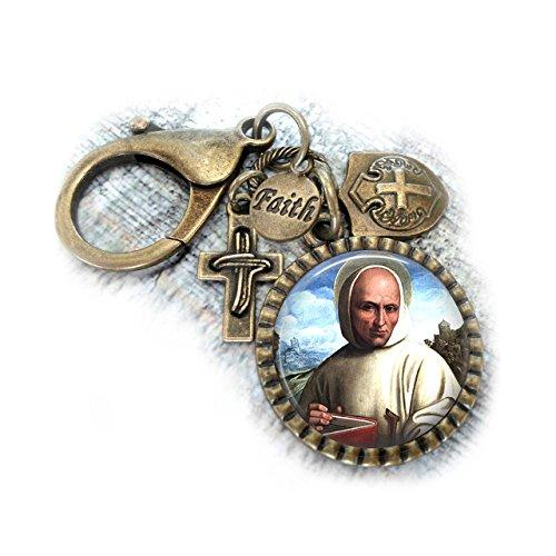 St. Bruno Keychain or Backpack Clip, Catholic Patron Saint Gift, Confirmation Boys Teens Men Unisex, Key ()