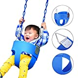 Hindom Kids High Back Full Bucket Toddler Swing Seat Safe Strong without Coated Chain Blue (US STOCK)