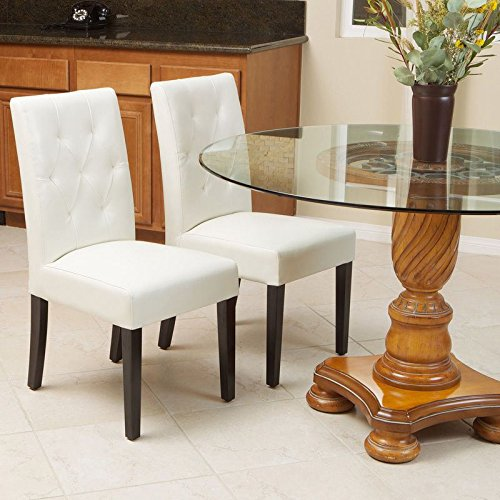 Alitop Set of 2 Elegant Ivory White Leather Dining Room Chairs