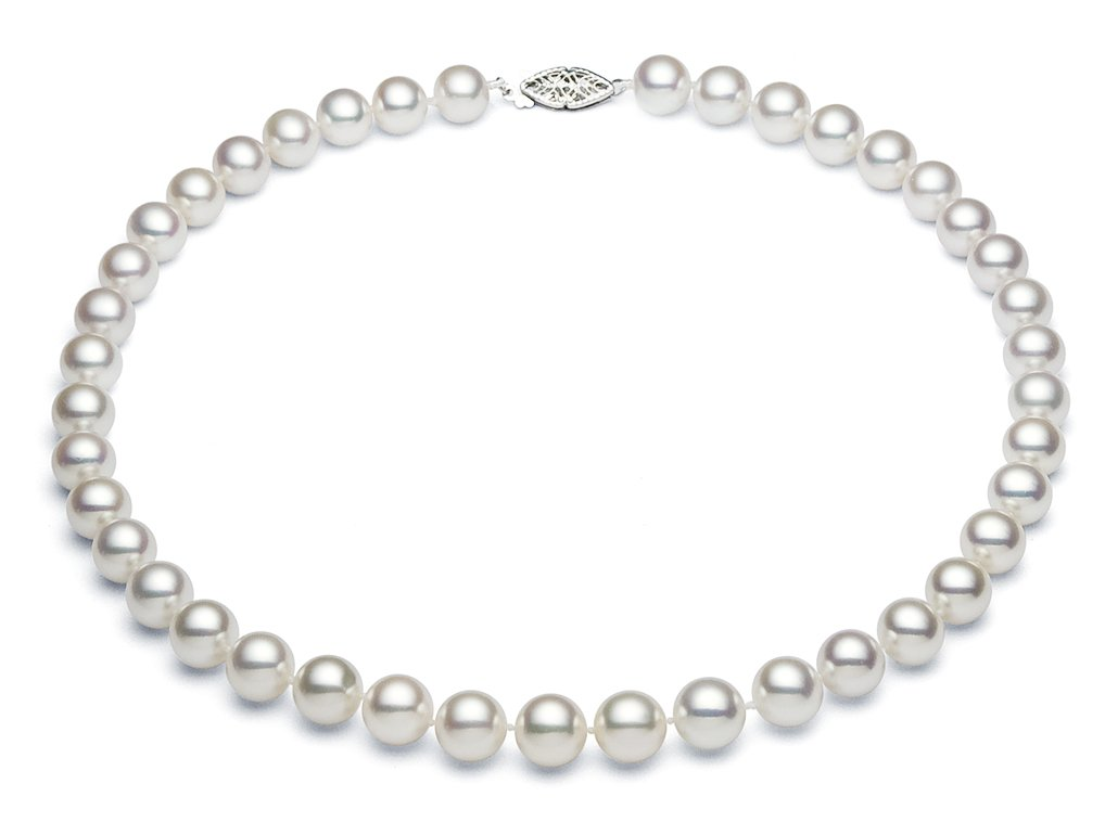 8.5-9.5mm Sterling Silver White Freshwater Cultured Pearl Necklace AA+ Quality, 18''