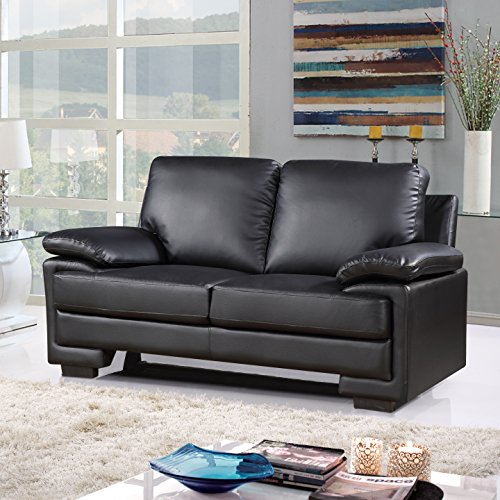 Modern Faux Leather Sofa and Loveseat Living Room Furniture Set (Black)
