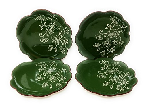 Temp-tations Set of 4 Hand Painted Stoneware Salad/Dessert Plate Choose Your Shape (Flower Floral Lace Green)