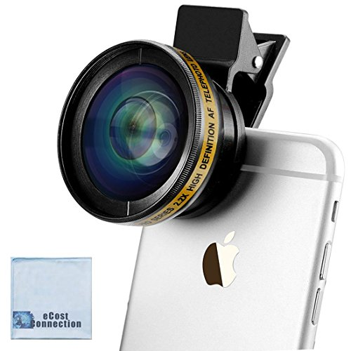 Pro Series High Definition AF Telephoto 2.2X Zoom Lens 37MM for iPhones: 8, 7, 7 Plus, 6s, 6s Plus, SE, 6 Plus, 6, 5, 5S, 5C with Clip and Bag + eCostConnection Microfiber Cloth