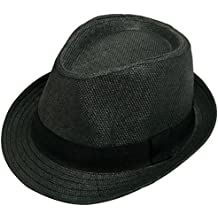 Unisex Classic Fedora Straw Hat with Black Band
