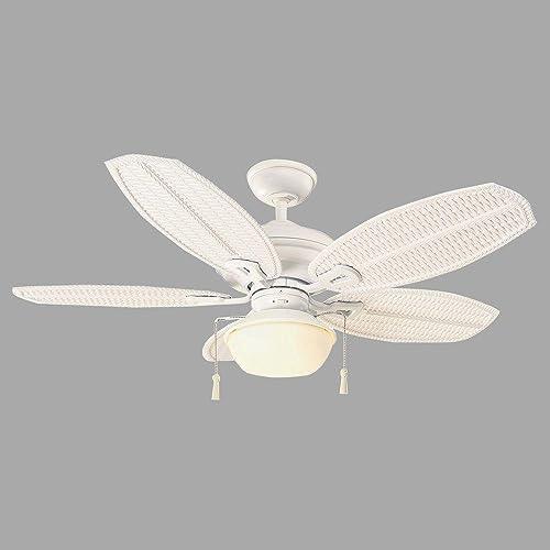 Hampton Bay Palm Beach III 48 Indoor Outdoor Matte White Ceiling Fan