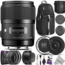Sigma 35mm F1.4 ART DG HSM Lens for NIKON DSLR Cameras w/ Complete Flash, Photo and Travel Bundle