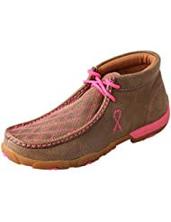 Twisted X Womens Driving Moccasins Bomber/Neon Pink - Stiched Vamp Design Outdoor Footwear