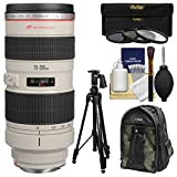 Canon EF 70-200mm f/2.8L USM Zoom Lens with Canon Backpack + Pistol-grip Tripod + 3 UV/CPL/ND8 Filters + Kit