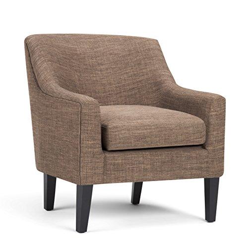 Simpli Home AXCCHR-004-BRL Pauline Club Chair in Fawn Brown Linen Look Fabric